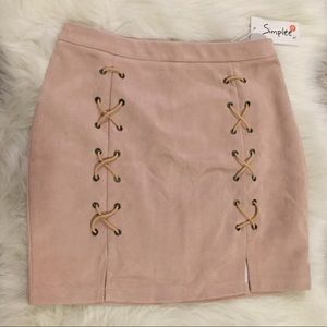 Dresses & Skirts - NWT Lace-up Pale Pink Skirt